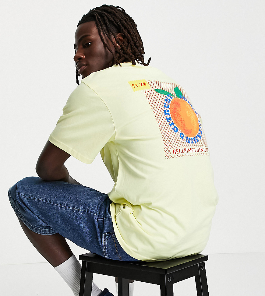 Reclaimed Vintage inspired peach graphic t-shirt in organic cotton-Yellow