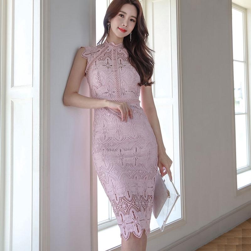 正韓蕾絲洋裝 優雅 性感 粉色蕾絲宴會禮服 及膝 包臀 顯身材洋裝 party dress