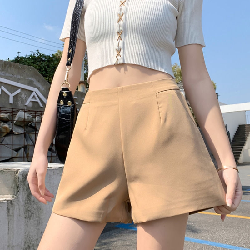 【現貨】韓系百搭外穿雪紡寬鬆A字褲學生高腰素色西裝寬褲顯瘦休閒短褲