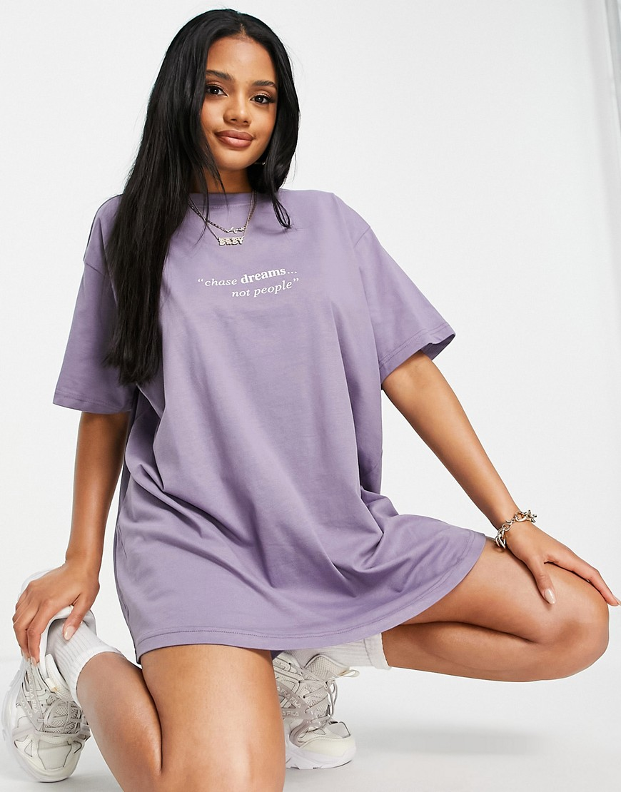 Night Addict oversized slogan t-shirt dress-Purple