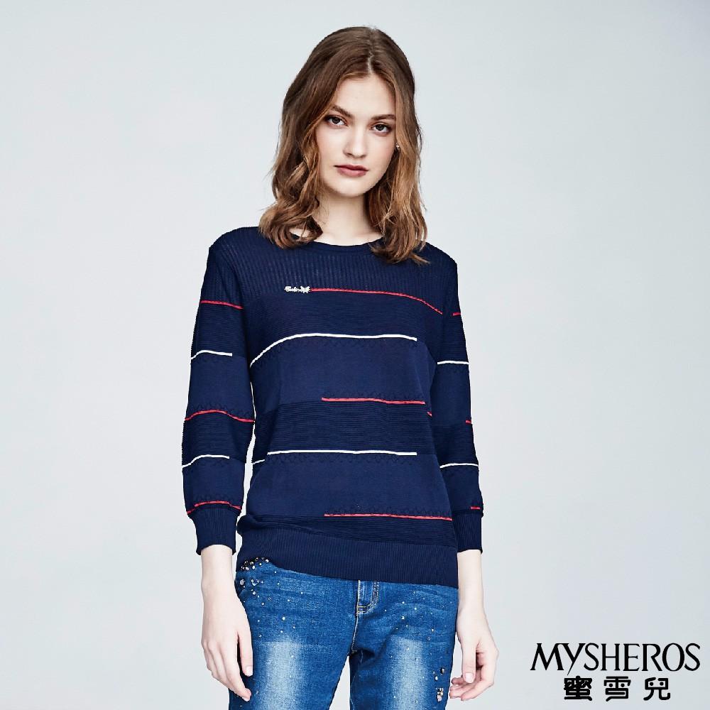 蜜雪兒MySHEROS-條紋休閒長袖上衣-藍-0310-24257-70