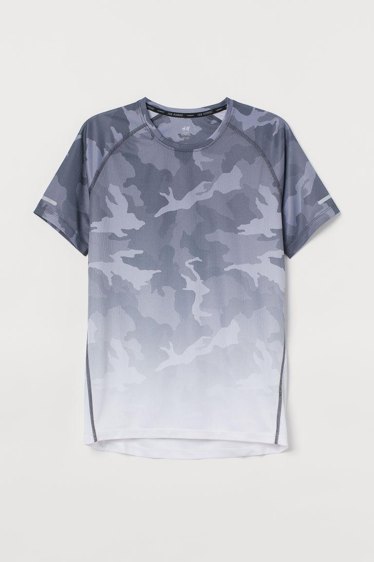 H & M - 標準剪裁跑步上衣 - 灰色
