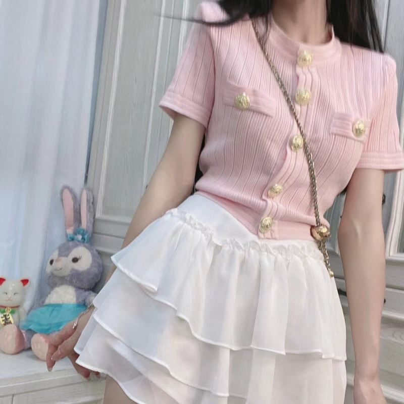小香風薄款針織開衫春夏新款修身顯瘦圓領單排釦短袖上衣女生衣著短版純色百搭小開衫