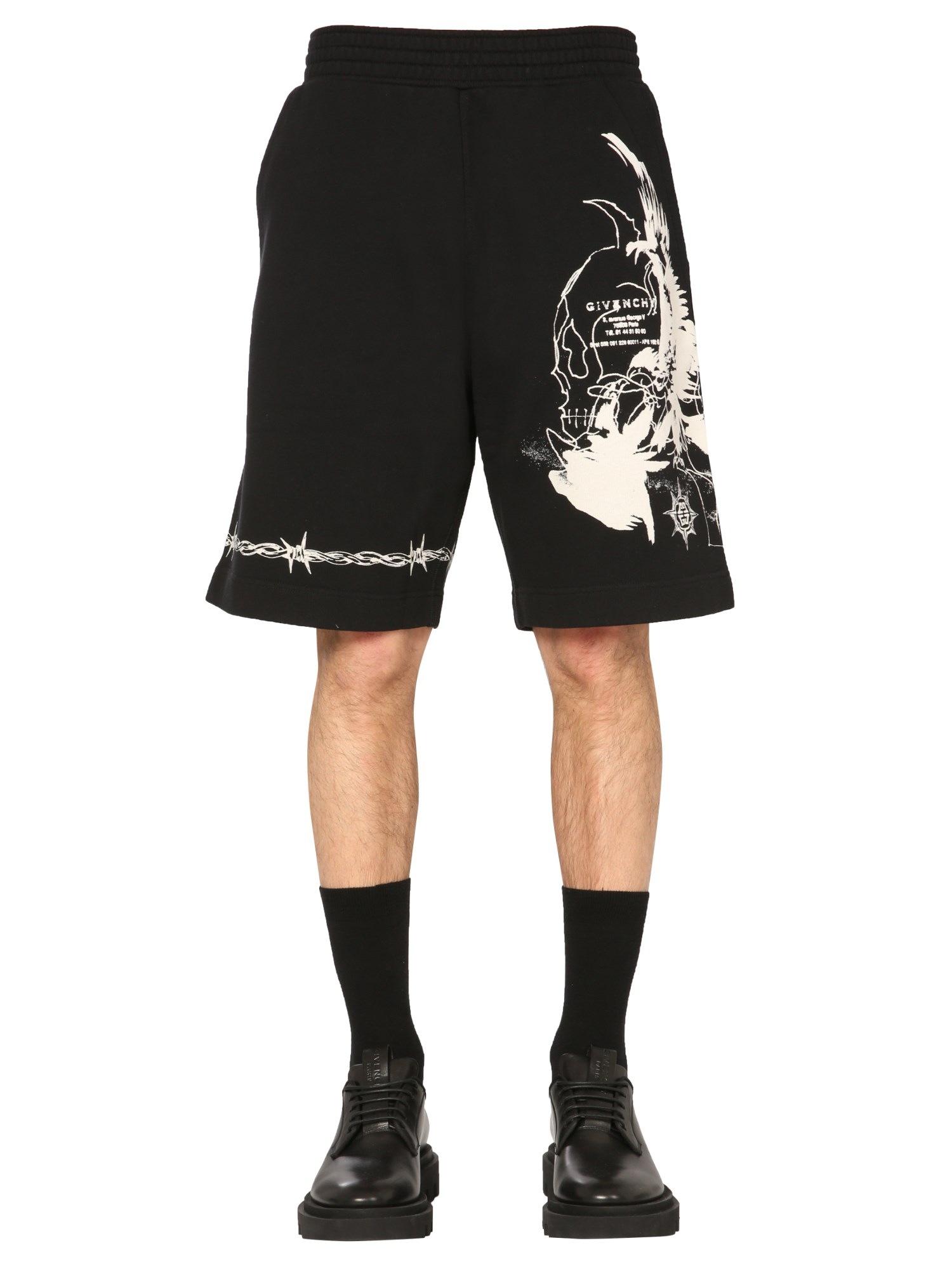 givenchy bermuda with gothic print