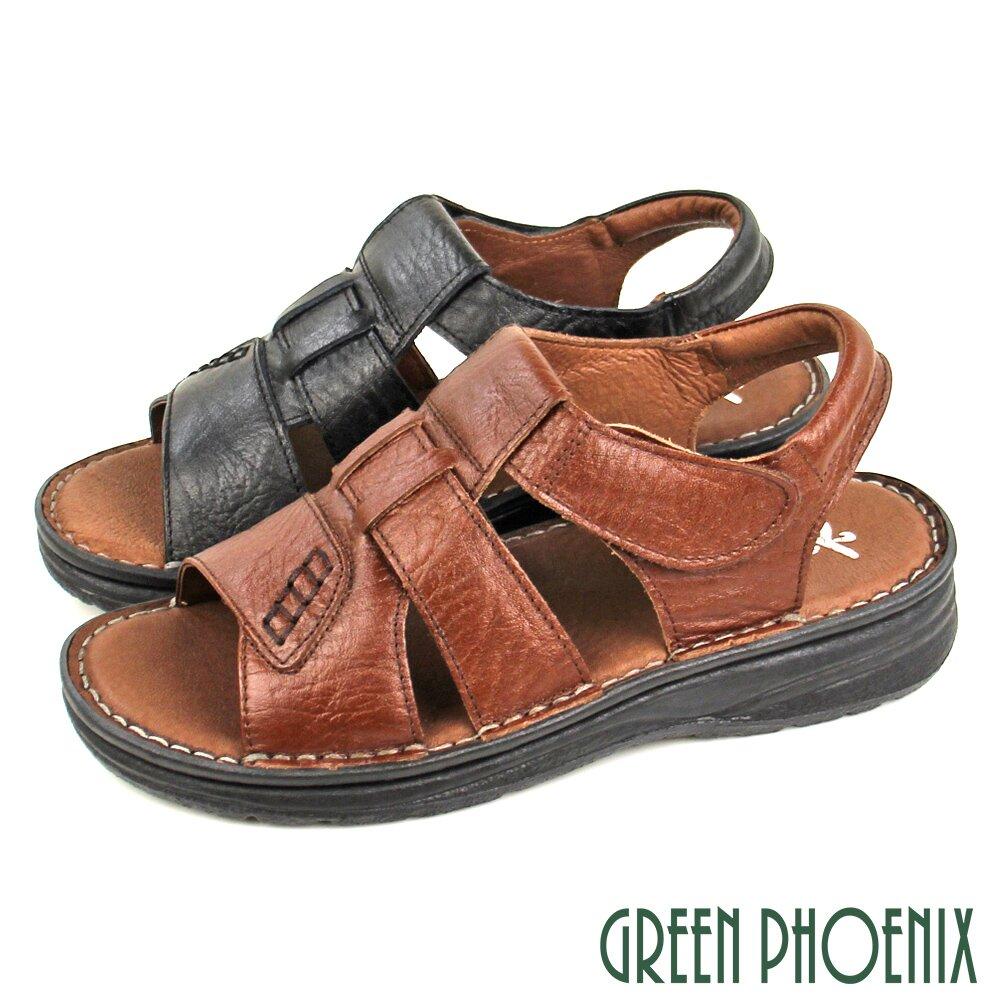 【GREEN PHOENIX】台灣手工縫製簍空壓紋全真皮沾黏式厚底涼鞋(男鞋)T11-13405