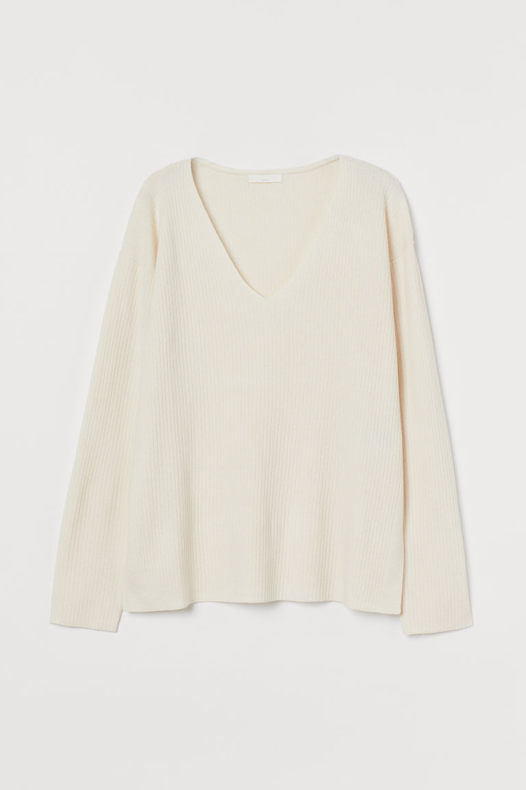 H & M - 羅紋針織套衫 - 米黃色