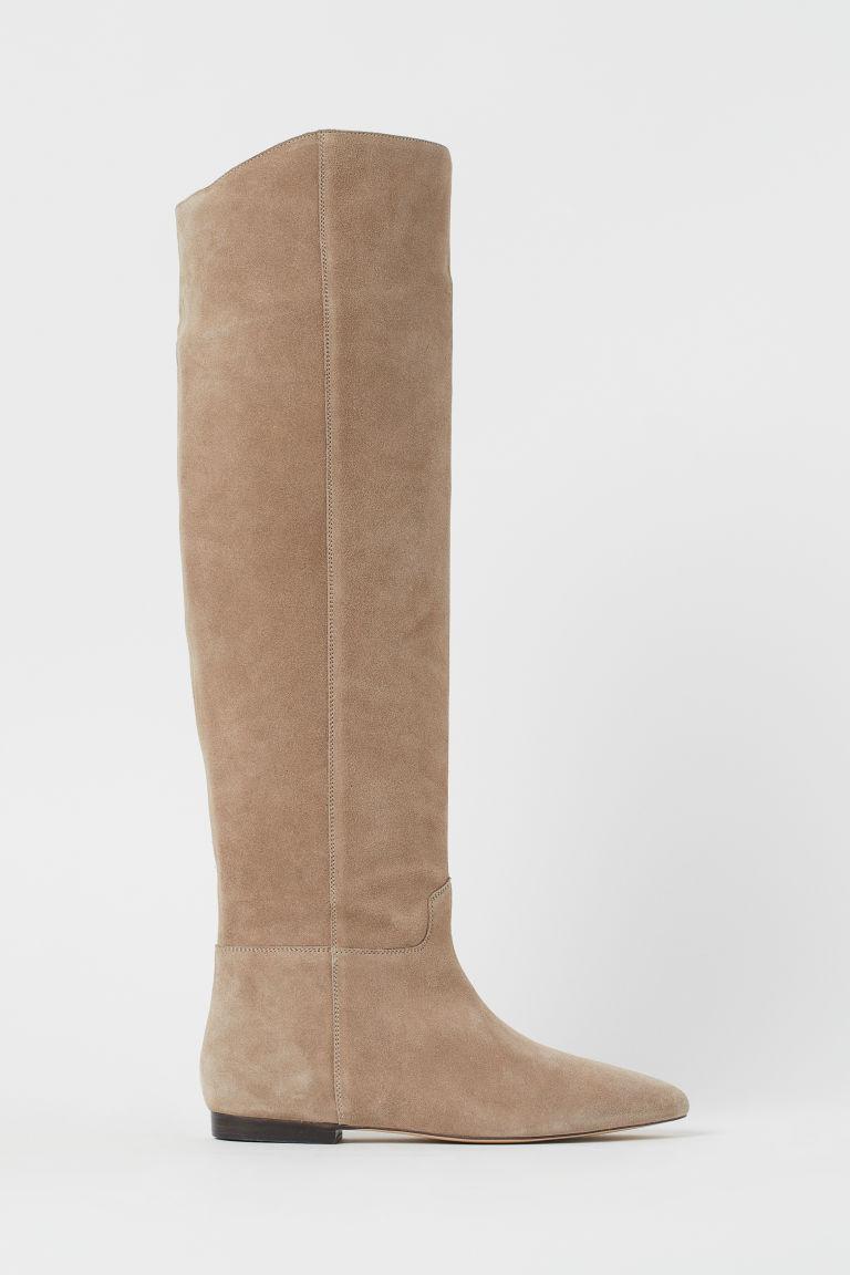 H & M - 及膝麂皮靴 - 米黃色