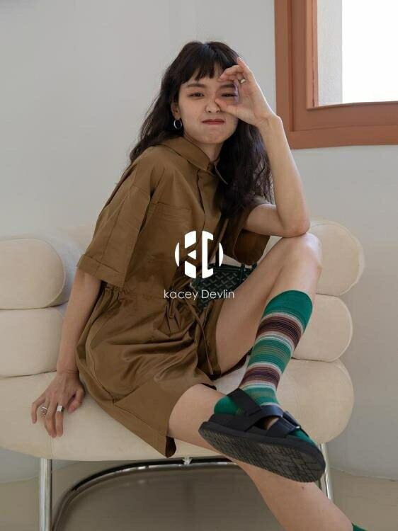 工裝寬鬆bf連身褲女夏季港味復古簡約短袖小個子高腰短褲【聚物優品】
