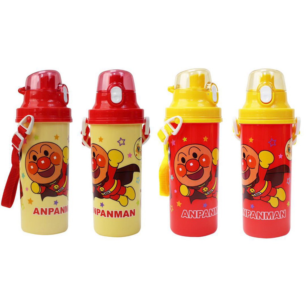Anpanman麵包超人 彈蓋式 直飲水壺 附背帶 兒童水壺 680ml (黃/紅)
