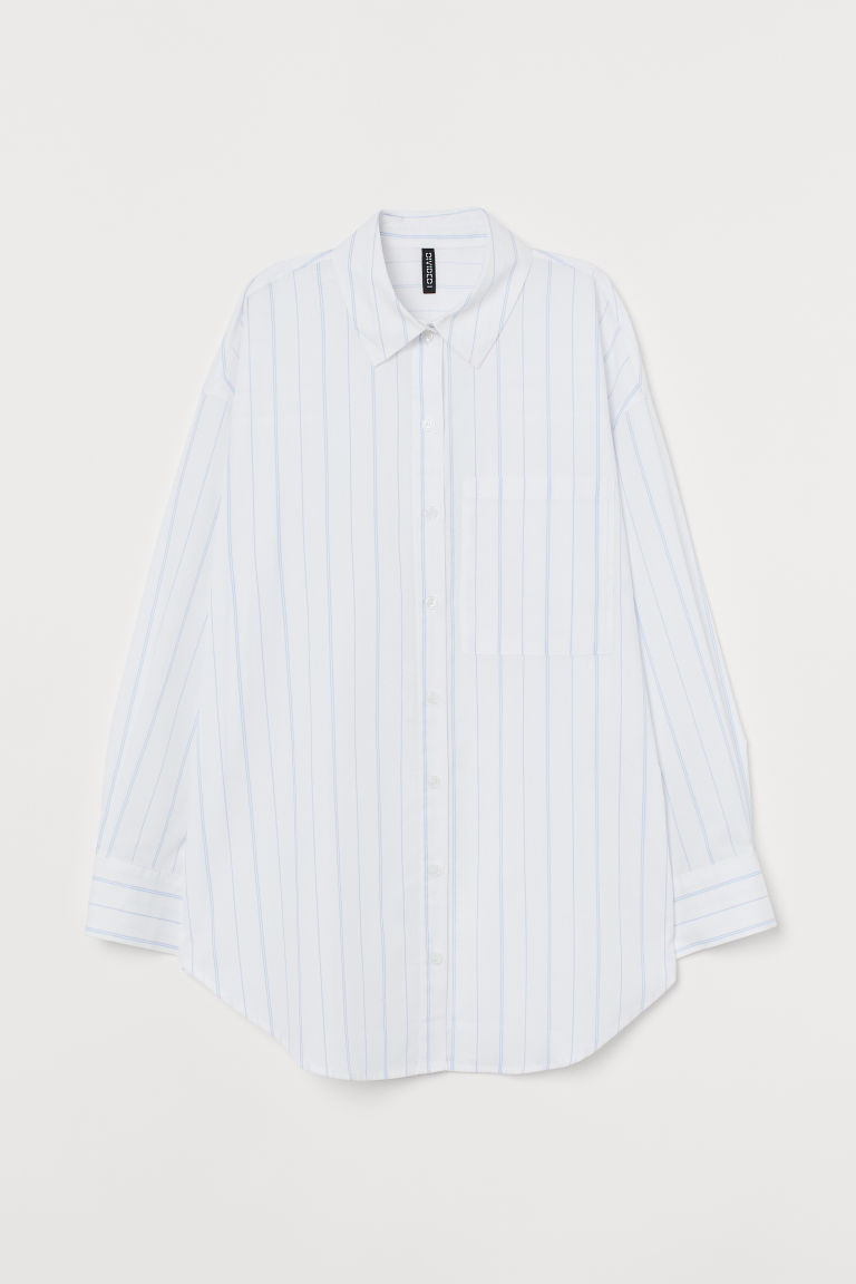 H & M - 加大碼棉質襯衫 - 白色