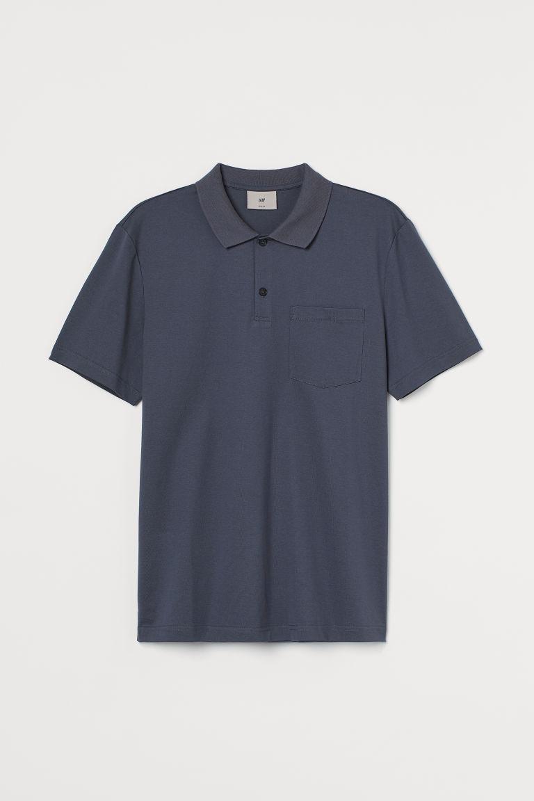 H & M - 優質棉Polo衫 - 藍色