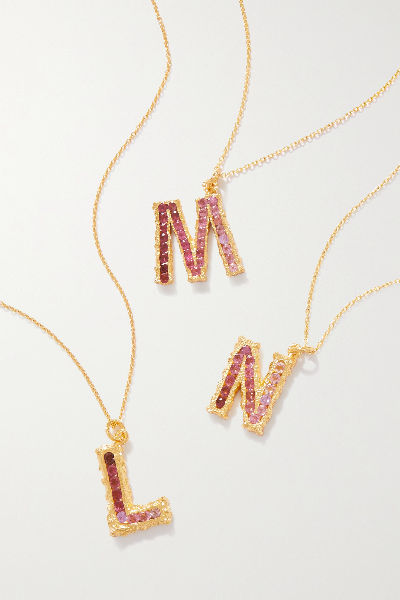 PACHAREE - Alphabet Gold-plated Emerald Necklace - Pink - K