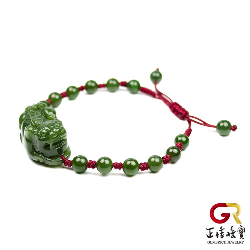 和田碧玉 金錢貔貅手串 典藏貔貅手珠|可調式手工中國繩繩結 正佳珠寶