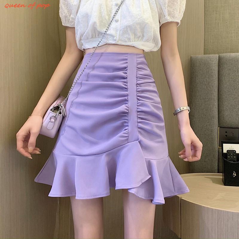 魚尾裙 女生短裙 半身裙 A字裙 夏季韓版新款高腰顯瘦不規則荷葉邊褶皺半身裙女裝裙子ins風
