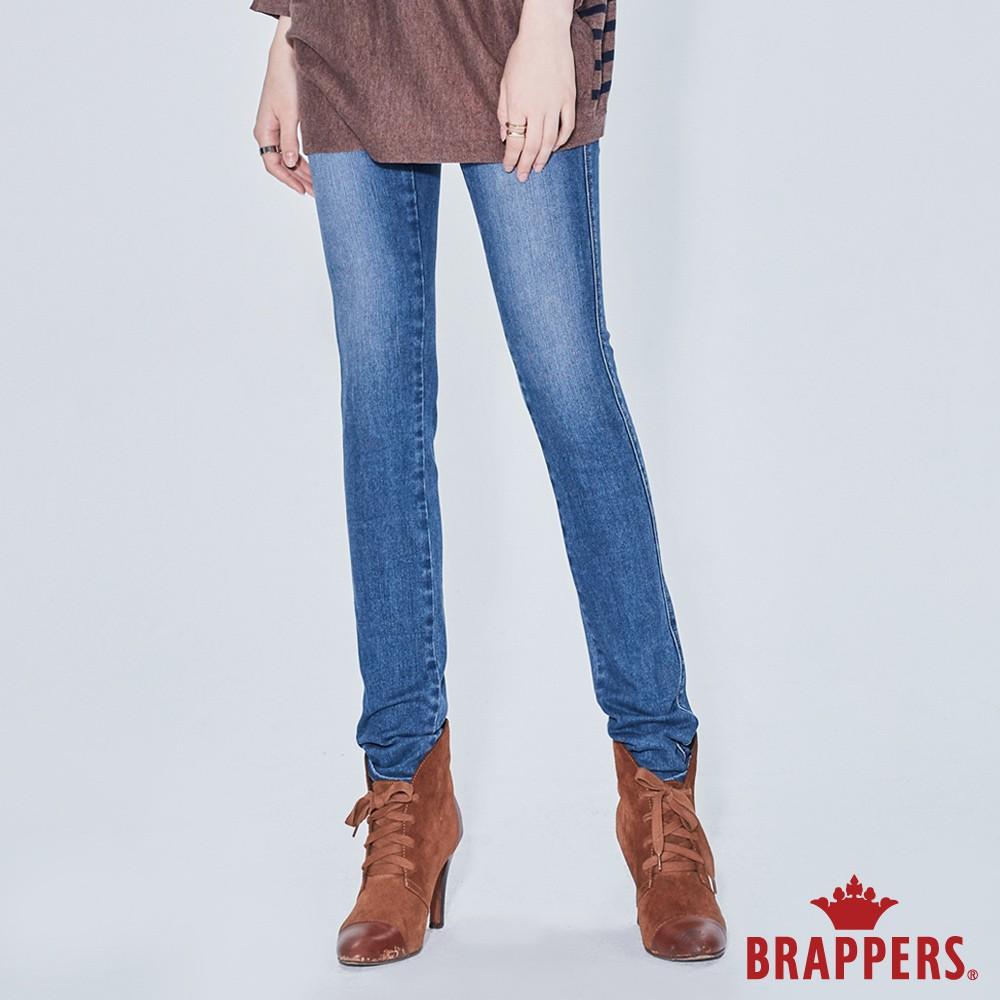 BRAPPERS 女款 新美尻系列-中腰彈性窄管褲-淺藍