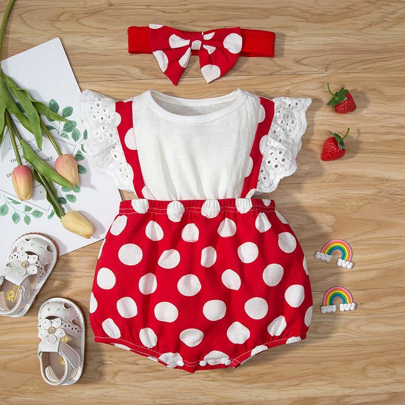 夏季初生嬰兒短袖爬服 女寶寶可愛波點純棉連體哈衣+蝴蝶結髮帶 兩件套 嬰幼兒甜美包屁衣套裝【IU貝嬰屋】