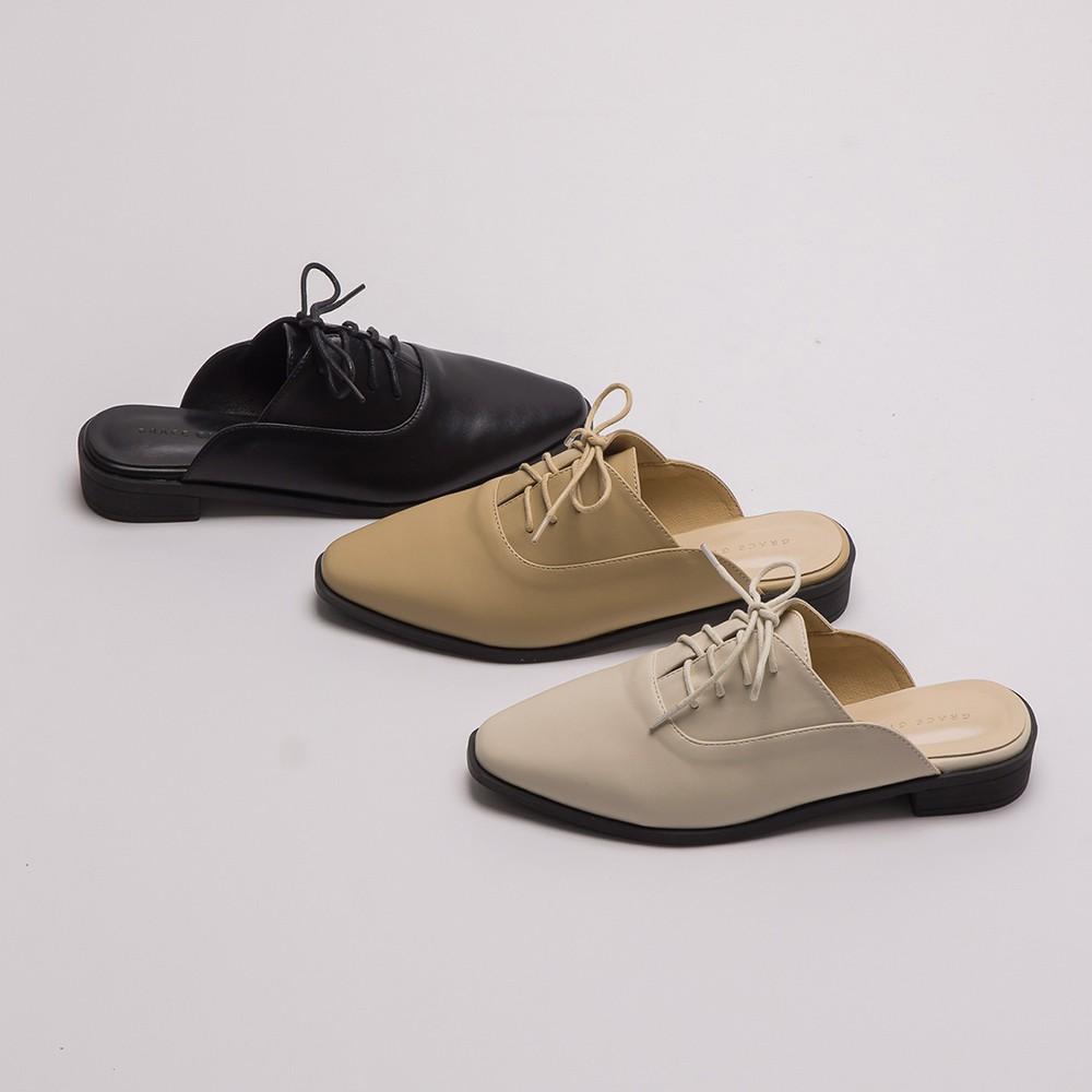 Grace gift-牛津綁帶低跟穆勒鞋
