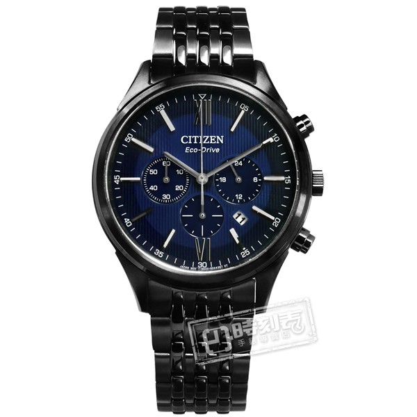 CITIZEN / CA4415-81L / 光動能亞洲限定計時日期日本機芯防水100米不鏽鋼手錶 藍x鍍黑 42mm
