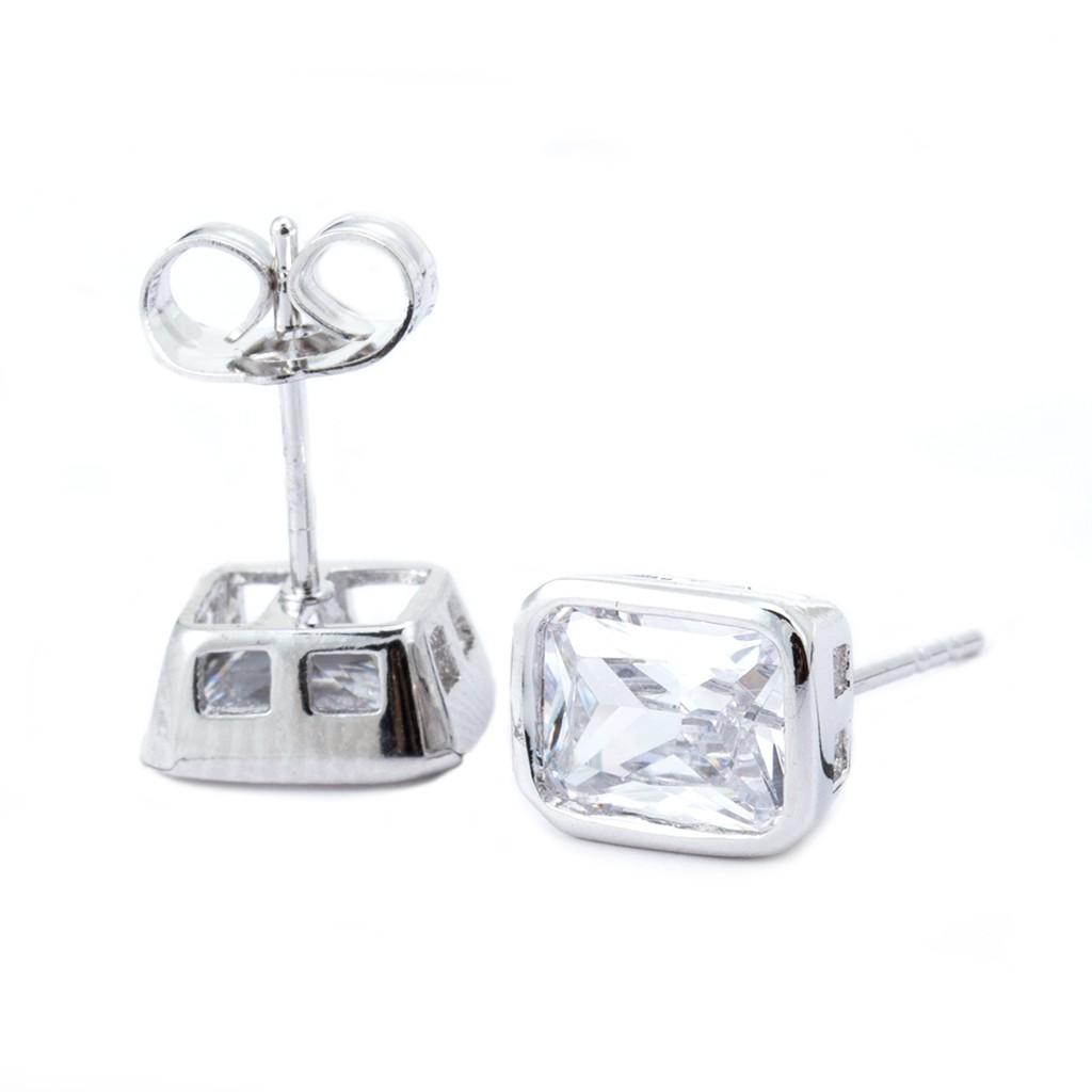 耳環耳針 鋯石 長方形 水鑽 白K金 銀耳針 防過敏 艾豆『B1684』