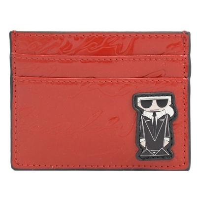 KARL LAGERFELD卡爾公仔裝飾亮漆皮卡片夾(紅)