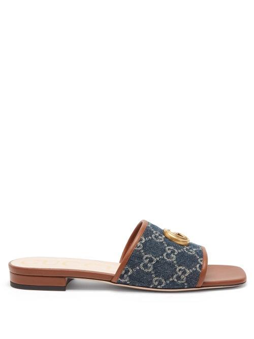 Gucci - GG Jacquard-denim And Leather Slides - Womens - Blue Multi
