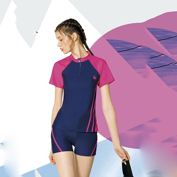 梅林品牌   大女藍桃配色拉鍊短袖二件式泳衣  贈泳帽 NO-M8469