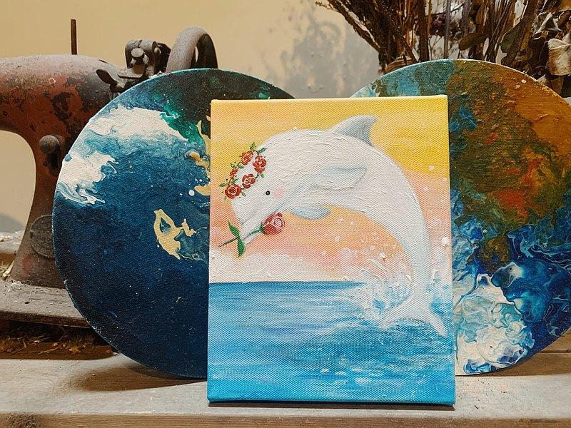 小畫框原畫 / 玫瑰海豚- 動物的日常系列
