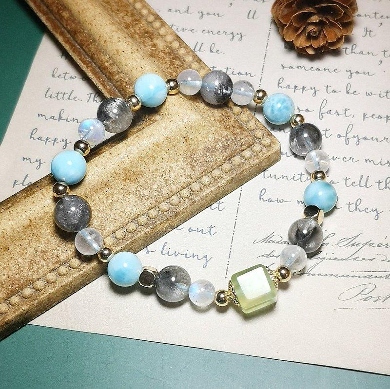 天然黑銀鈦 海紋石 月光 葡萄石魔方 設計手鍊
