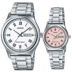 【CASIO 卡西歐】送禮首選-甜蜜浪漫情侶對錶(MTP-V006D-7B + LTP-V006D-4B)