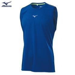 MIZUNO 男裝 無袖 背心 慢跑 路跑 吸汗快乾 兩肩反光織帶 反光燙印 藍【運動世界】J2TA100122