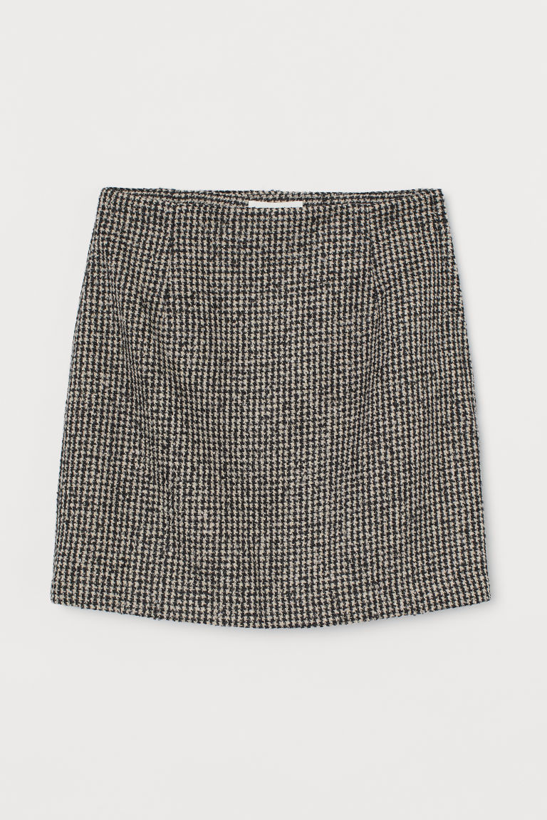 H & M - 毛圈紗短裙 - 黑色