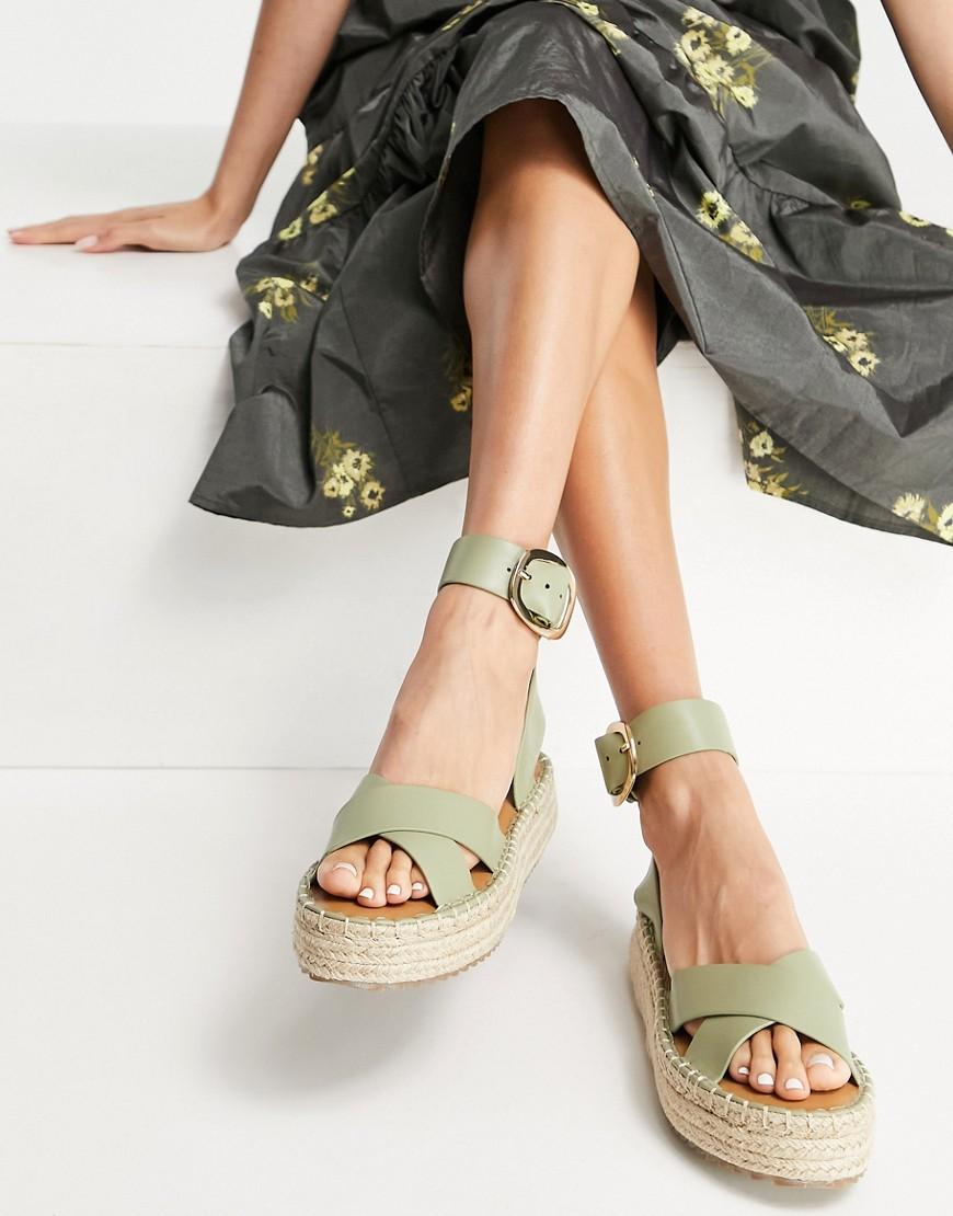 ASOS DESIGN Justice flatform espadrille sandals in sage green