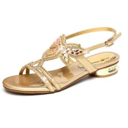 【Sp house】夏日焦點水鑽水晶高跟涼鞋(3色可選)