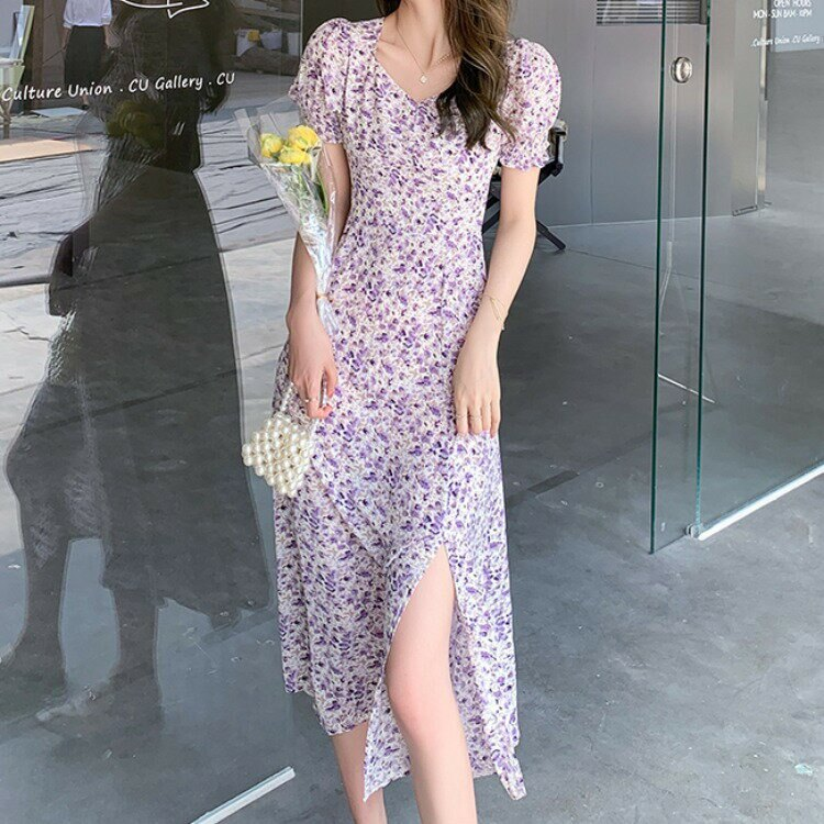 跨境女裝2021夏季新款女裝法式優雅碎花雪紡短袖連衣裙女