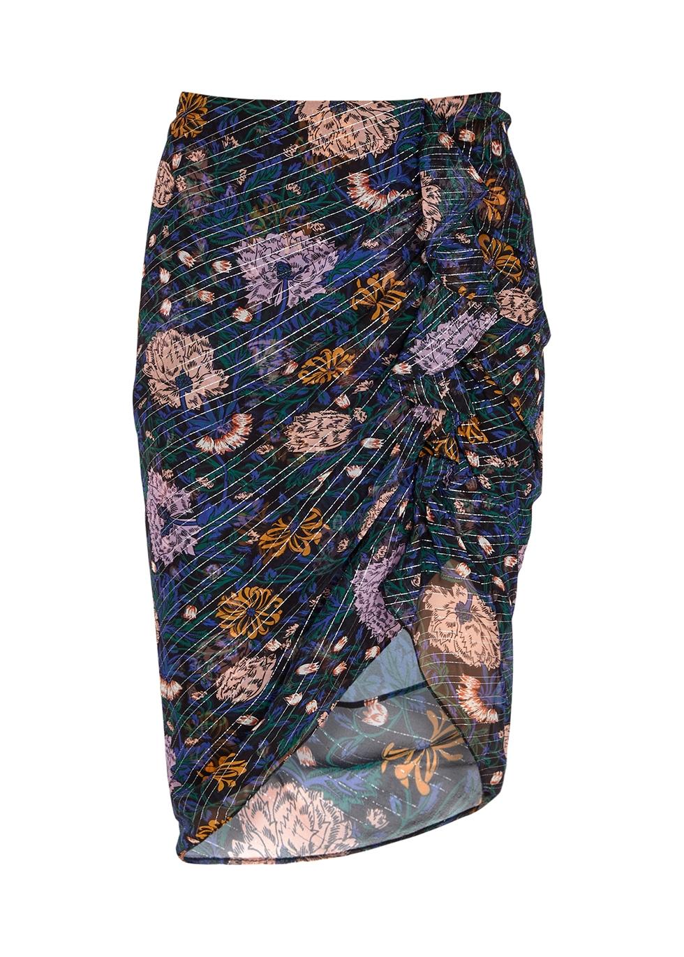 Hazel floral-print chiffon midi skirt