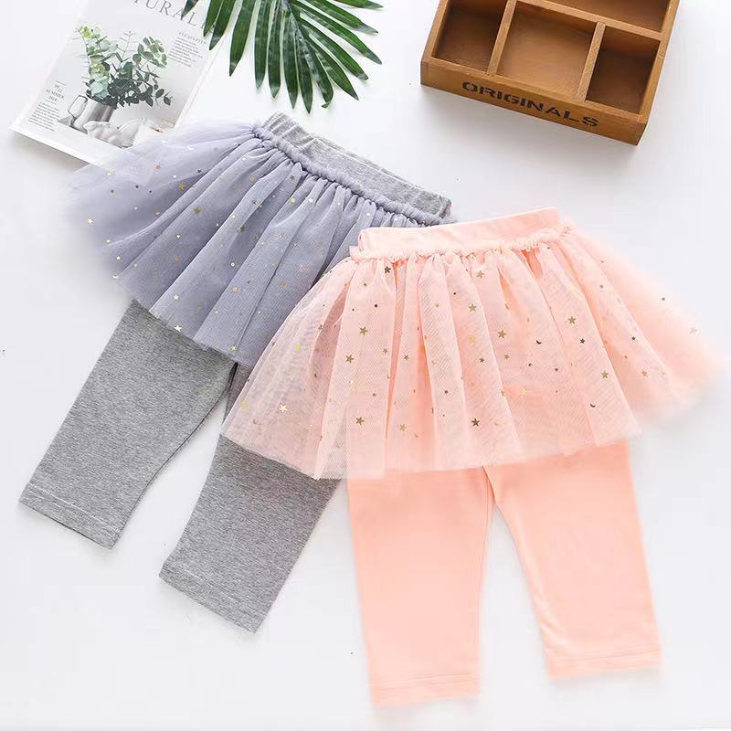 2021夏季新款 女童七分褲假兩件紗裙內搭褲
