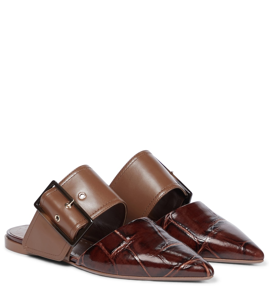 Miller croc-effect leather slippers