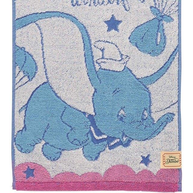 小禮堂 迪士尼 小飛象 純棉無捻紗長毛巾 抗菌毛巾 純棉毛巾 長巾 34x80cm (藍 汽球)