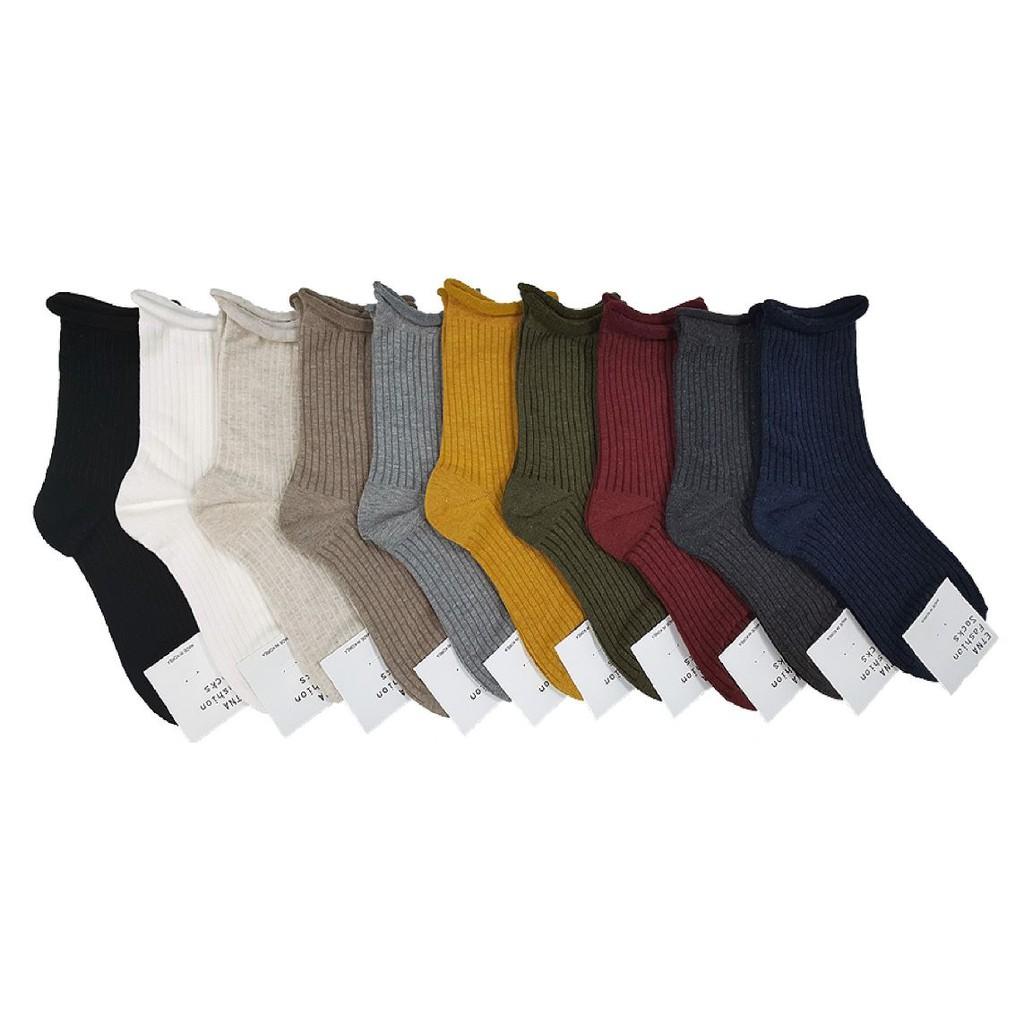 ETNA 百搭素色襪 捲邊設計 秋冬必備長襪 純色直紋 文青襪子