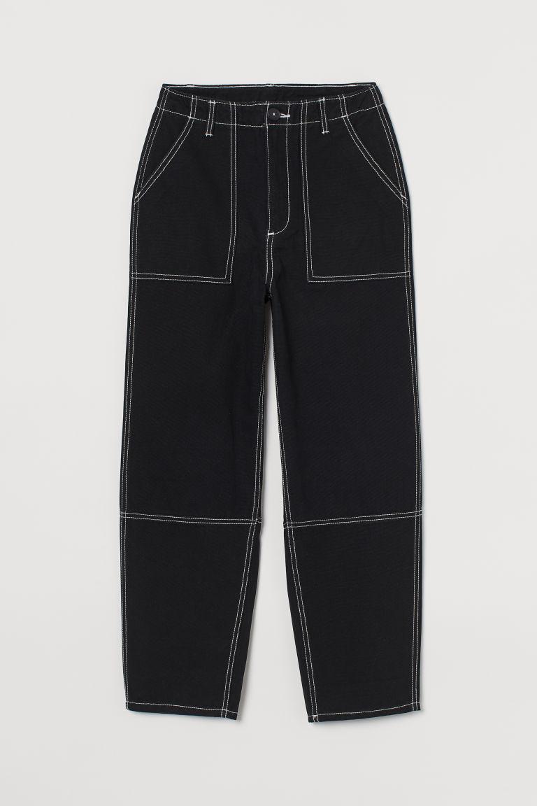 H & M - 棉質工作長褲 - 黑色