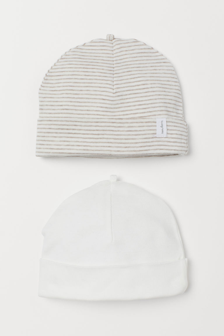 H & M - 2入裝棉帽 - 褐色