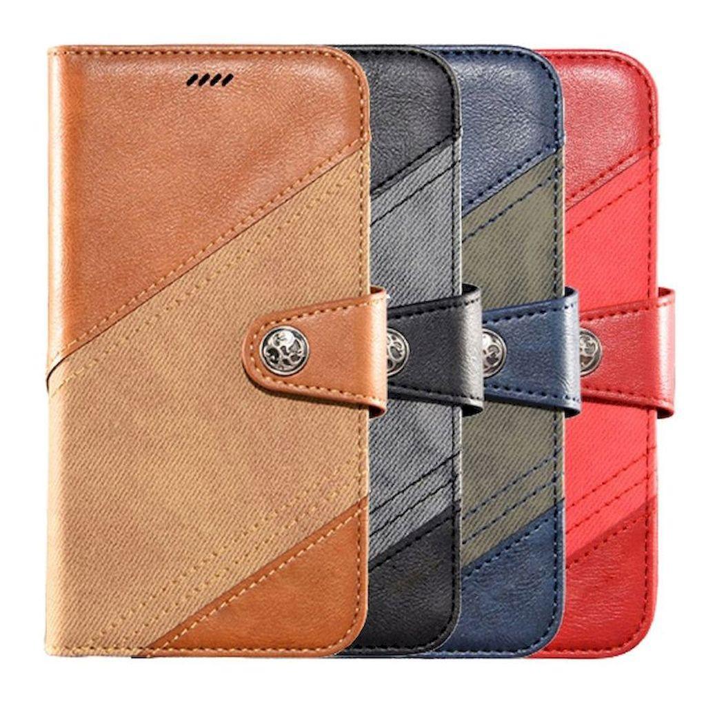 HTC Desire 21 Pro 5G 皮革保護套跳色帆布紋磁扣翻蓋皮套