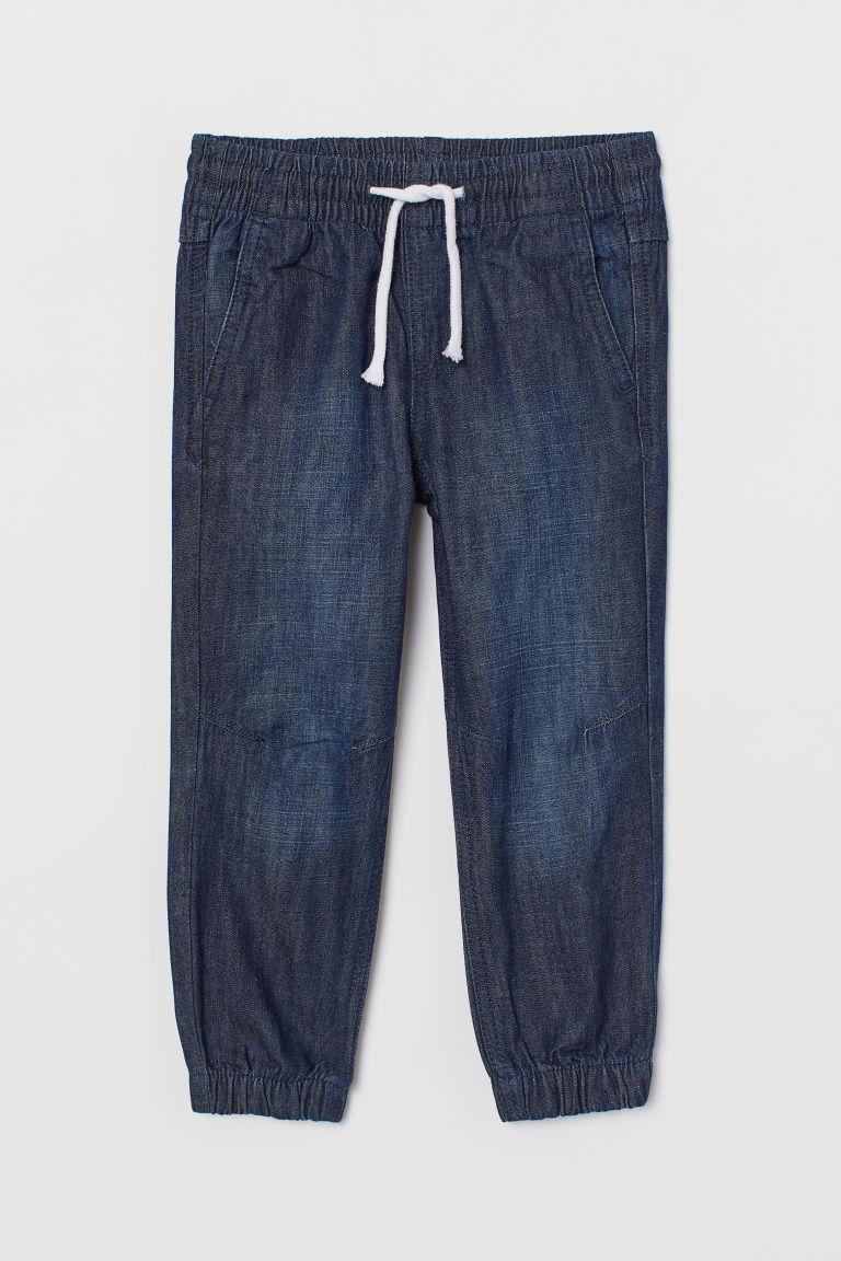 H & M - 斜紋鬆緊式長褲 - 藍色