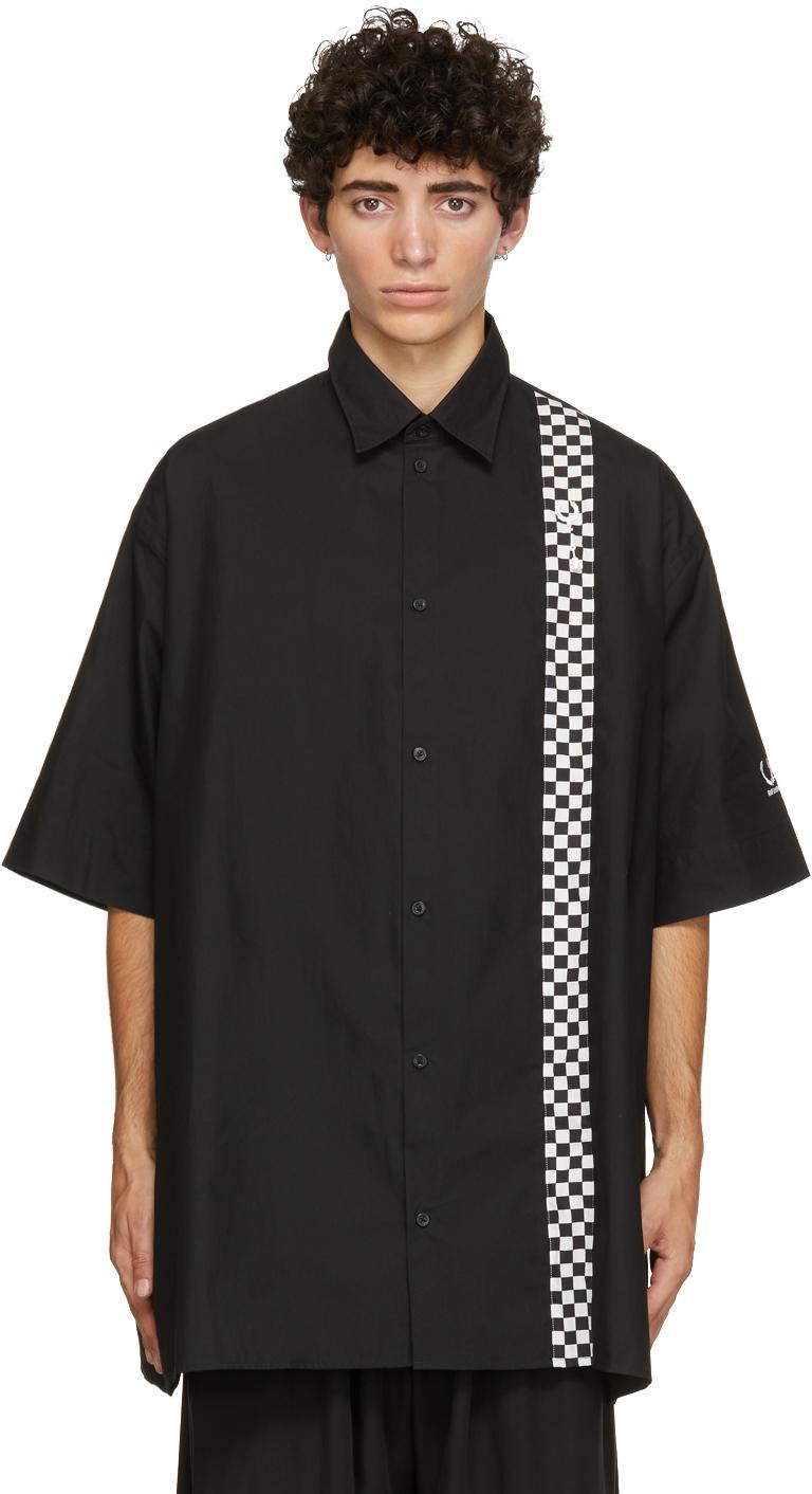Raf Simons 黑色 Fred Perry 联名 Checkerboard 大廓形短袖衬衫