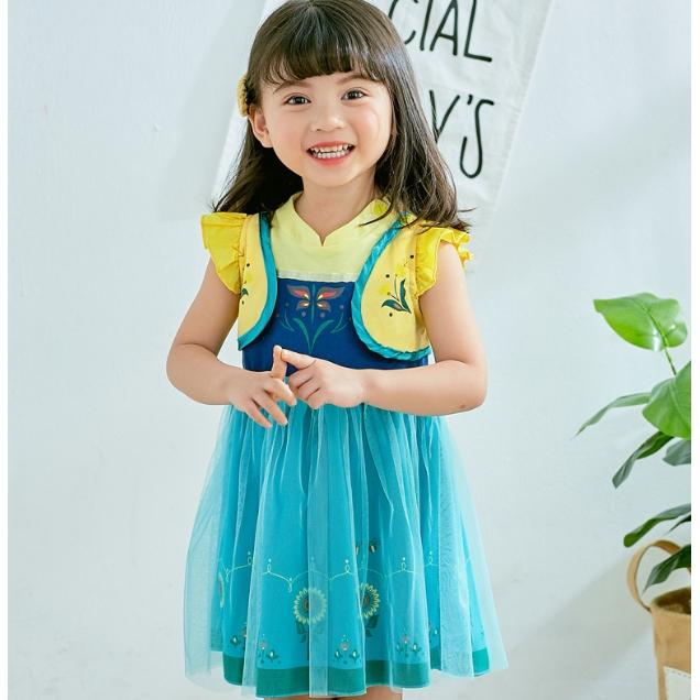 女童冰雪奇緣安娜洋裝 短袖洋裝 女童連身裙 小童連衣裙 小童洋裝 女童連身裙【蘋果小舖】(SG)2007 A7