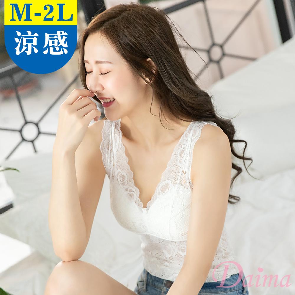 內衣 免穿內衣(M-XXL)玫瑰蕾絲長版塑身顯瘦收腹內搭背心_白色【黛瑪Daima】