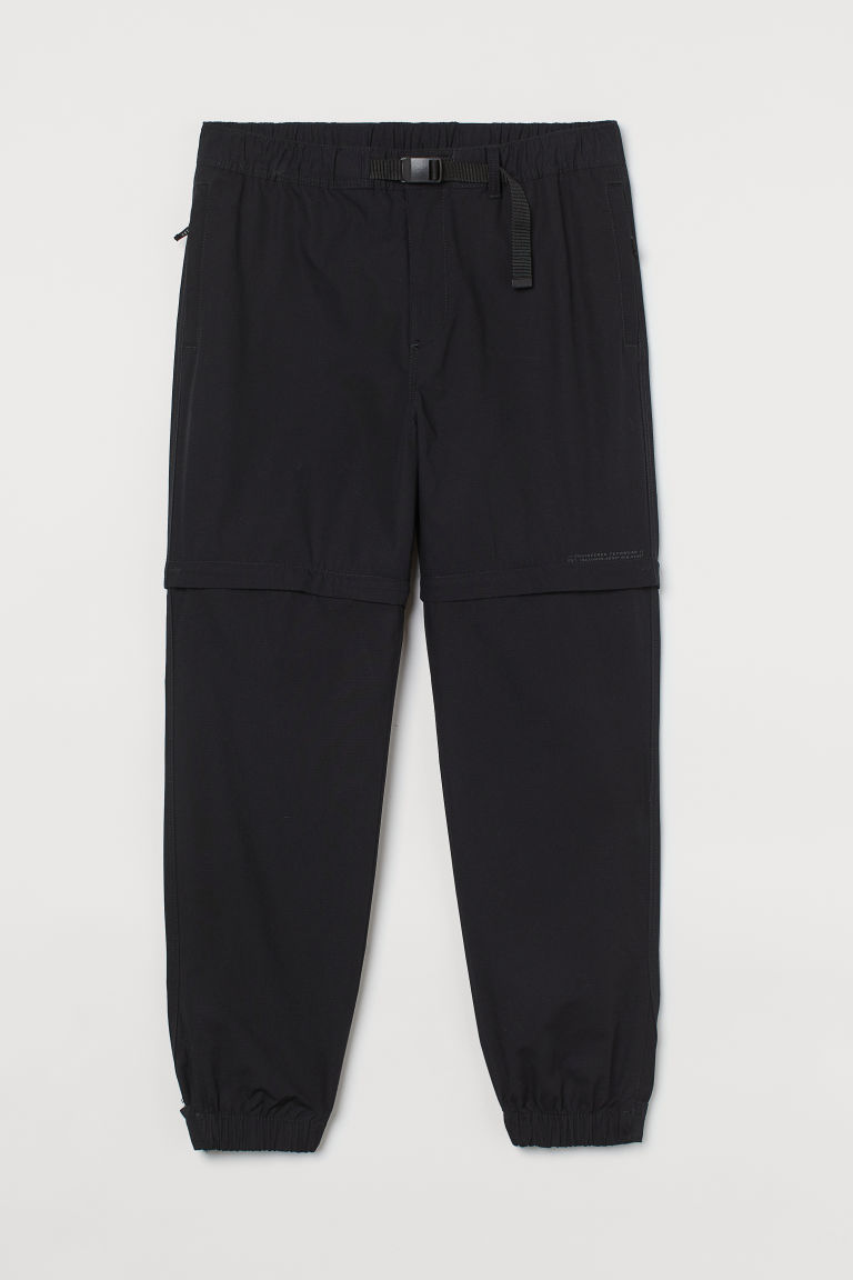 H & M - 拉鍊式兩穿慢跑褲 - 黑色