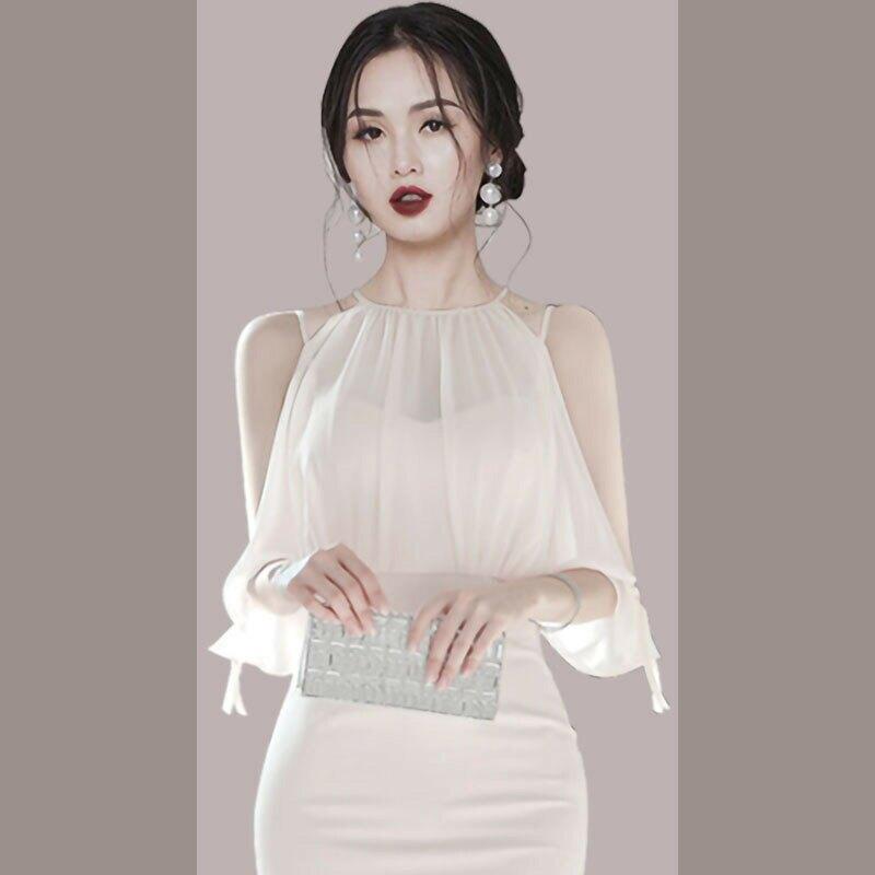 跨境女裝2021韓版新款假兩件套露肩平雪紡拼接連衣裙女包臀中裙