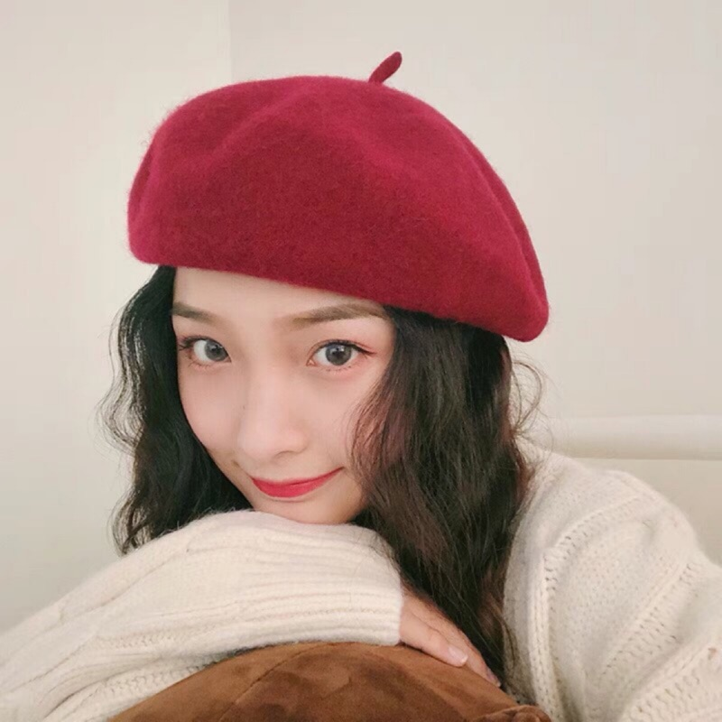 木瓜製品/【現貨】[23色]超夯百搭立體素色羊毛貝雷帽 南瓜帽 貝蕾帽 畫家帽