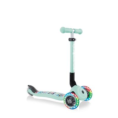 GLOBBER 兒童2合1三輪折疊滑板車迷你夢幻版(LED發光前輪)-波西米亞薄荷綠